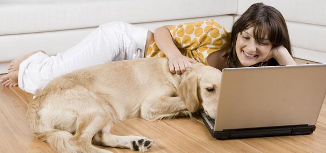 woman and labrador retriever