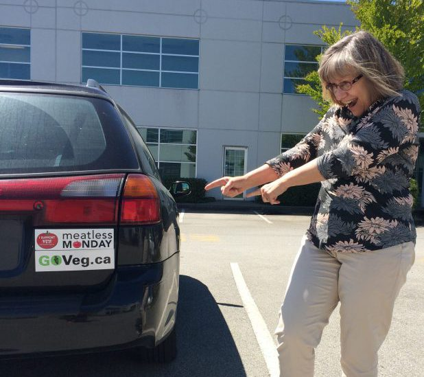 Debra promotes veg bumper stickers 2