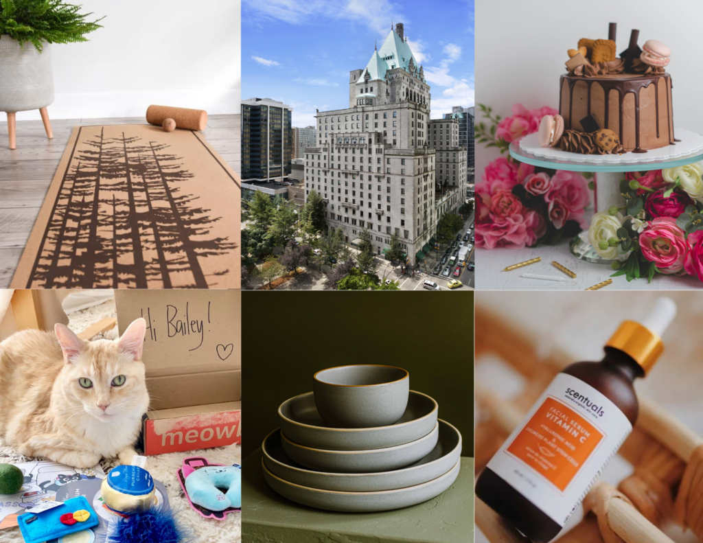 A grid showing six silent auction items: a cork yoga mat, Faimont hotel, a vegan chocolate cake, a cat receiving a Meowbox, ceramic dishes, and Vitam C serum.
